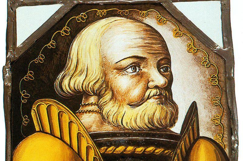 Götz von Berlichingen, Glasmalerei von 1547 im Museum Jagsthausen
