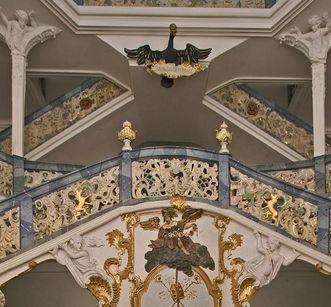 Muschelförmige Ornamente im Treppenhaus von Kloster Schöntal