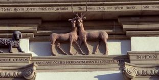 Detail view of a group of animals on the north tower of Schöntal Monastery church