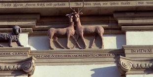 Detailansicht Tiergruppe am Nordturm der Klosterkirche Schöntal
