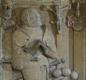 Image: Effigy of the grave of Sir Götz von Berlichingen in the cloister of Schöntal Monastery