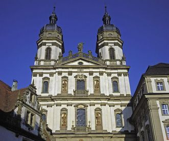 Image: Exterior of the double-towered Baroque church, Schöntal Monastery