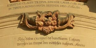 Image: Detail of the entrance to the Schöntal monastery church with a Knittel verse