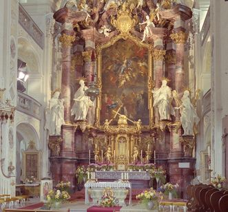 Image: The high altar in the choir room of Schöntal's monastery church