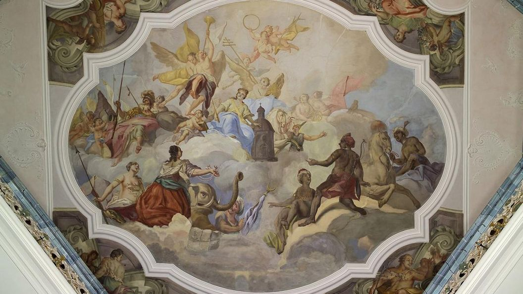 Image: Detail of the fresco in the staircase, Schöntal Monastery