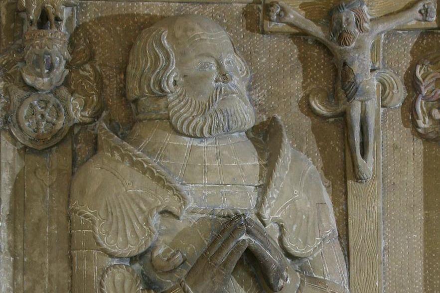Ausschnitt Grabmal von Ritter Götz im Kloster Schöntal