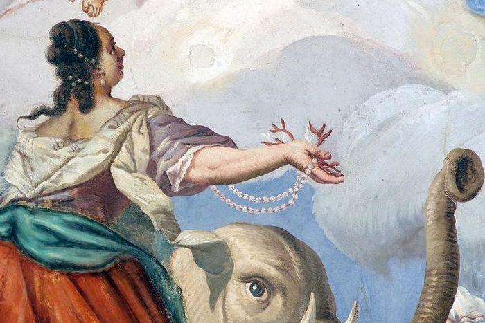 Detailansicht Deckenfresko im Treppenhaus der Neuen Abtei im Kloster Schöntal